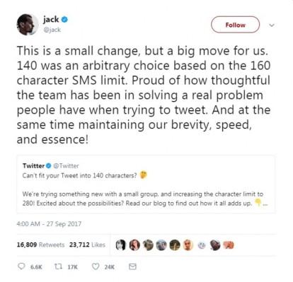 Jack Dorsey 280 Tweets